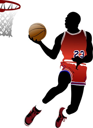 Basketball players.  illustration