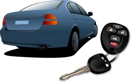 ignition: Car sedan on the road and key ignition  illustration Illustration