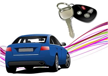 ignition: Car sedan on the road and key ignition.   illustration Illustration