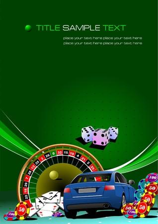 atlantic city: Casino elements car image.  illustration