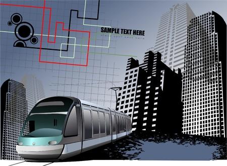 tramway: Astratto urbano grunge background con immagine di tram.  Vettoriali