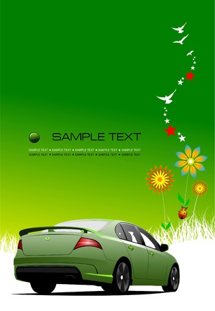 blank brochure: Green summer  background with car image.  illustration