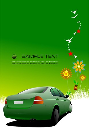 Green summer  background with car image.  illustration Vector