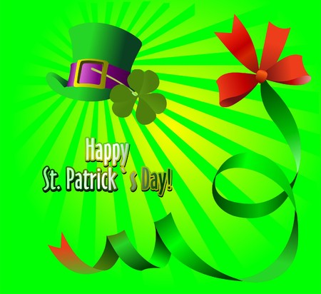 Green hat and bow for St. Patrick's Day. 17-th of march. Vector Stock Vector - 7912657