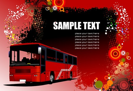 Grunge abstract hi-tech background with red bus image.   illustration Vector
