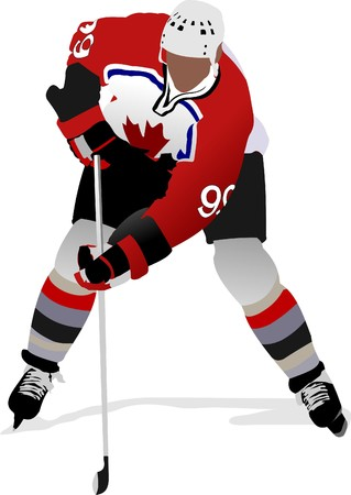 hockey game: Ice hockey players. Colored   illustration for designers