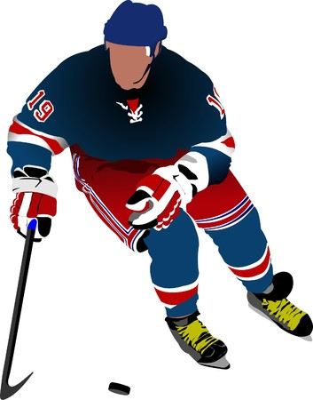 ice hockey player: Ice hockey players. Colored  illustration for designers,