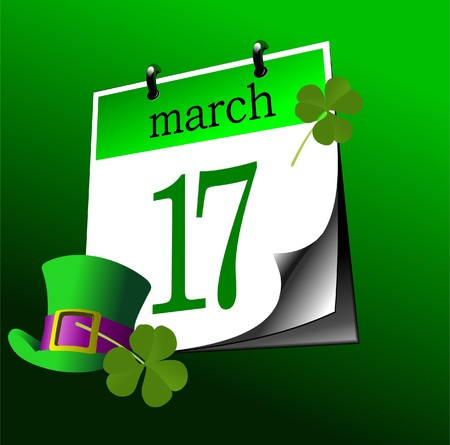Calendar page of St. Patrick's Day. 17-th of march. Vector Stock Vector - 7912615