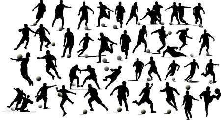 jugadores de soccer: Jugadores de f�tbol. Ilustraci�n de blanco y negro para dise�adores
