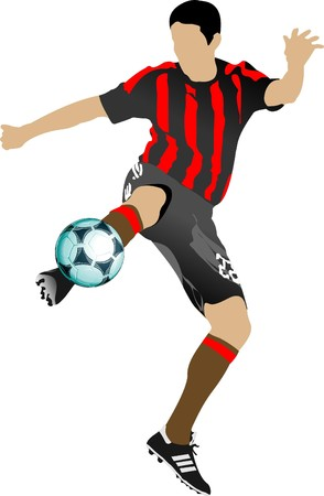 contest: Soccer players. Colored   illustration for designers