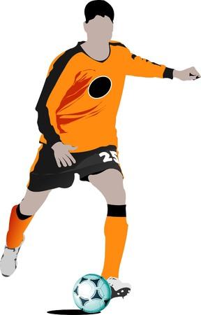 jugadores de soccer: Jugadores de f�tbol. Ilustraci�n color para dise�adores