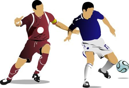 Jugadores de fútbol. Ilustración color para diseñadores