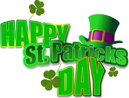 lucky day: Vector of green hats and shamrocks for St. Patricks Day