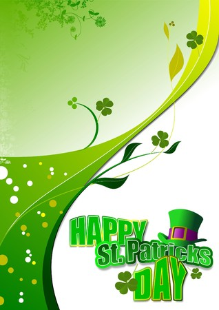 cartoon shamrock: Vector of green hats and shamrocks for St. Patricks Day