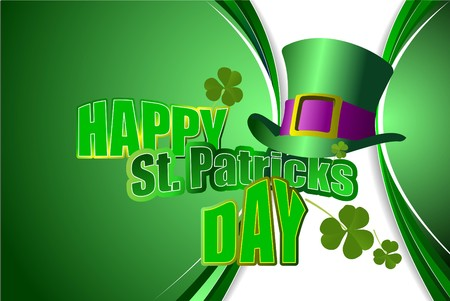 fortunate: Vector of green hats and shamrocks for St. Patricks Day