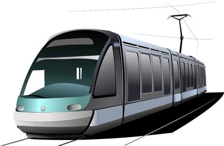 tramcar: City transport. Tram.  illustration Illustration