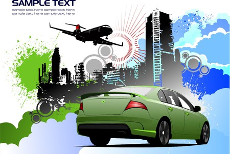 Grunge colored silhouette cityscape with car image illustration