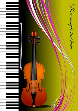 Piano with violin.   colored illustration. Cover for book