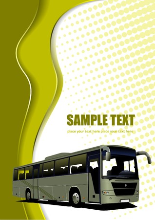 coach bus: Abstract wave background with bus image.  illustration