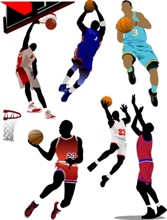 Basketball players. Vector illustration Stock Vector - 8474322