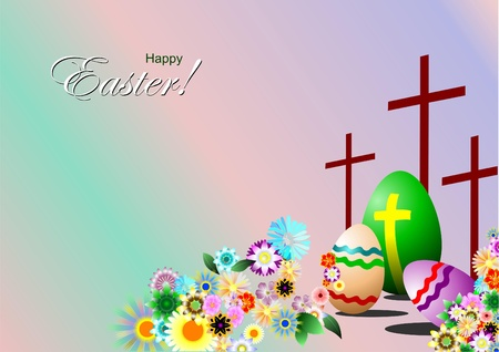 Easter day symbols background. Eggs, crosses and flowers. Vector illustration Vector