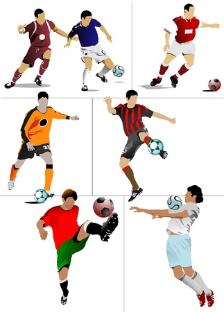 Soccer players. Colored Vector illustration for designers Stock Vector - 8474365