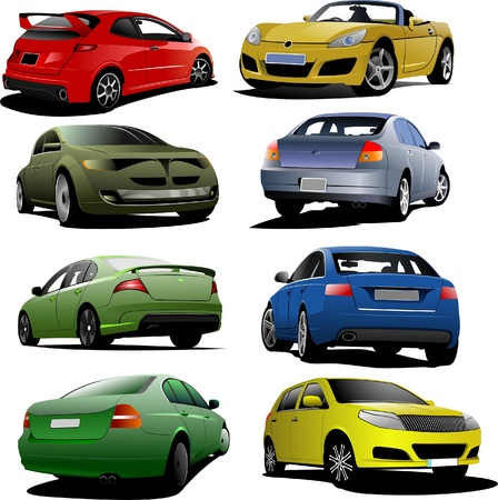 Eight cars on the road. Vector illustration Stock Vector - 8474359