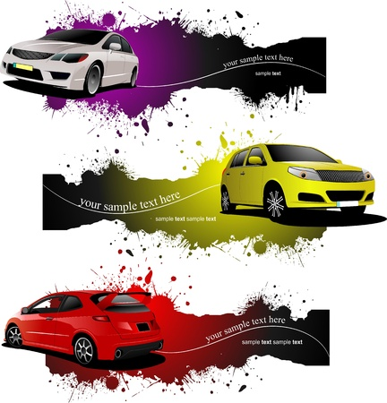 approaching: Three grunge Banners with cars. Vector illustration