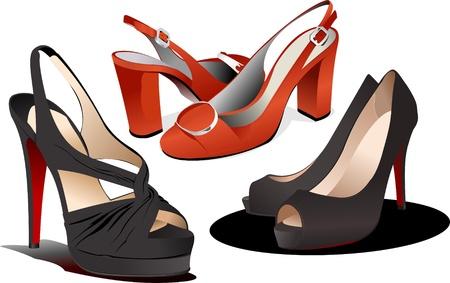 fetish woman: Fashion woman shoes. Vector illustration Illustration