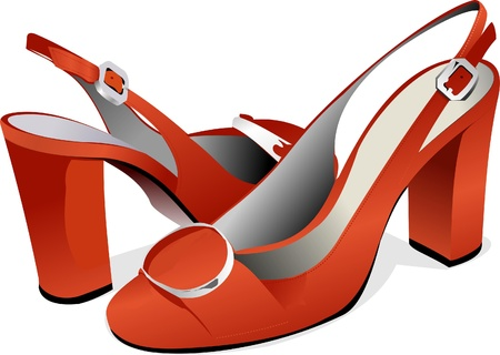 leather shoe: Fashion woman shoes. Vector illustration Illustration