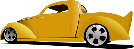 Yellow car pick-up on the road. Vector illustration Stock Vector - 8474244