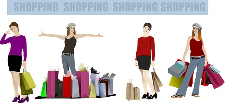 lady's: Cute shopping ladys with bags. Vector colored illustration Illustration