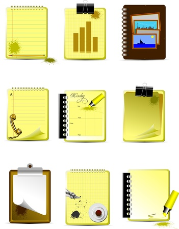 personal data assistant: Vector Nine Office and Business icons. Help for designers and web-designers Illustration