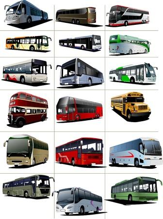 ausflug: Achtzehn Stadt und touristische Busse. Vektor-illustration