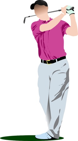 course of action: Golf players. Vector illustration  Illustration