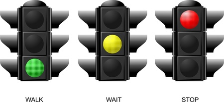 Set of traffic lights. Red signal. Yellow signal. Green signal Stock Vector - 8474243