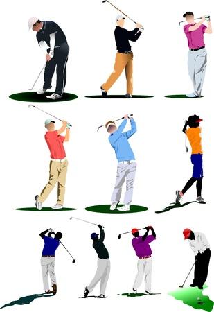 golfer swinging: Ten Golf players. Vector illustration  Illustration
