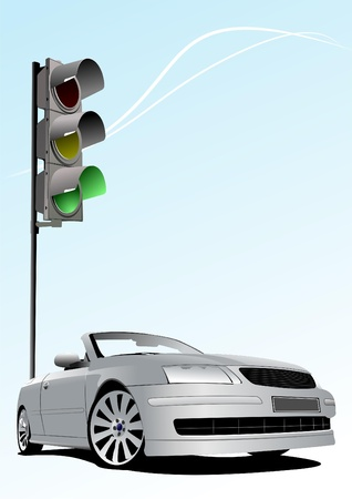 Traffic lights on sky background with silver cabriolet image. Vector illustration Stock Vector - 8474301