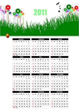 2011 calendar with flower image. Vector illustration  Vector