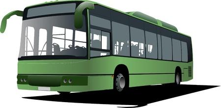 Imagen de autobuses de la ciudad. Ilustración vectorial Ilustración de vector