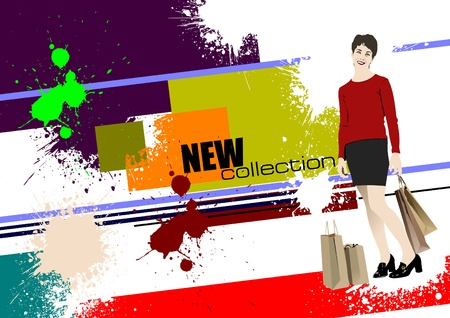 Grunge banner new collection.   illustration Vector