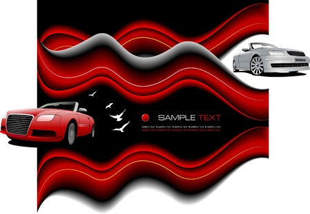 tire cover: Abstract wave background with two cabriolets. Vector Illustration