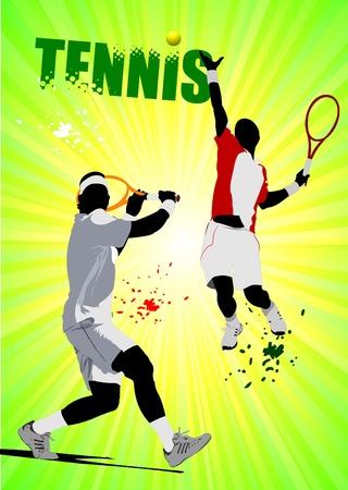 tennis racket: Cartel del jugador de tenis. Color ilustración vectorial para diseñadores