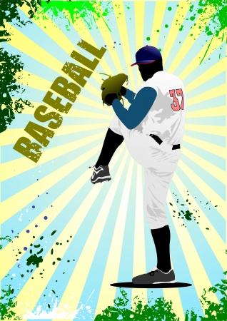 Baseball player poster. Vector