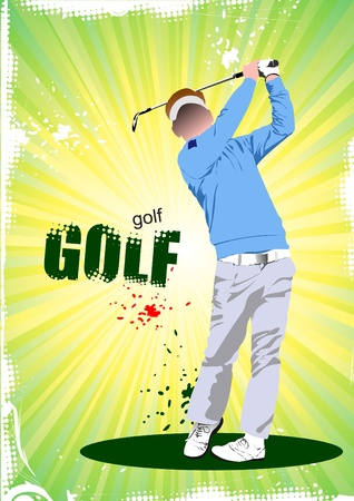 Poster with Golf players. Stock Vector - 8480946