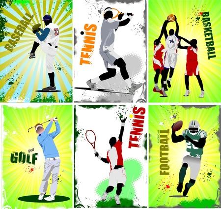 Sechs Sport-Plakate. Fußball, Baseball, Tennis, Fußball, Basketball, Golf.