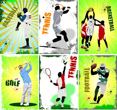 sports helmet: Six sport posters. Football, baseball, tennis, soccer, basketball, golf.