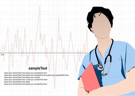 stagiaire: Docteur en m�decine avec st�thoscope sur fond de cardiogramme.