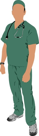 Medical doctor with stethoscope. Vector