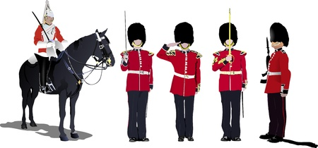 royal guard: image of five beefeaters. England guards.   Illustration